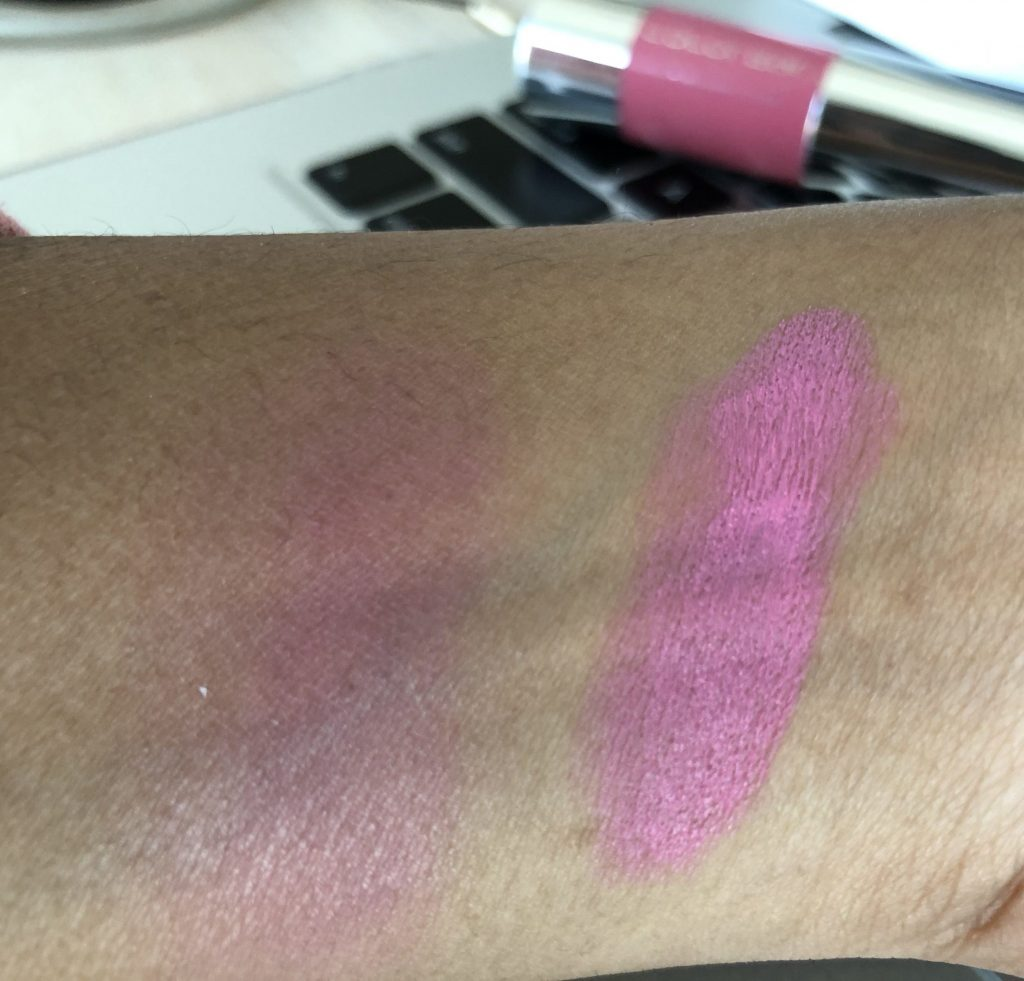 Colorbar All Day Pink Sugar Lip and Cheek Stick Swatch- Dark and blended