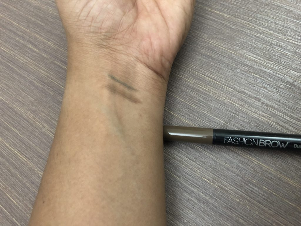 Maybelline New York Fashion Brow Duo Shaper Pencil in Brown Swatch Test