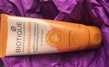 Biotique Bio Sandalwood 50+ SPF UVA/UVB Sunscreen Ultra Soothing Face Lotion